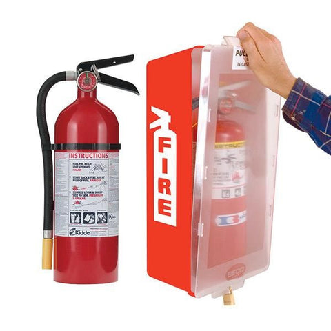 5 lb ABC Pro Line Fire Extinguisher w/ Mark I Jr. Cabinet, Red Tub/Clear Cover
