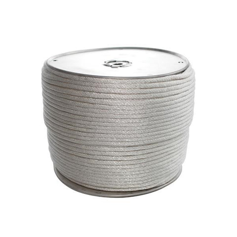 "Heavy-Duty Solid Braided Polyester Rope, 1/4"" x 1000', Reel"