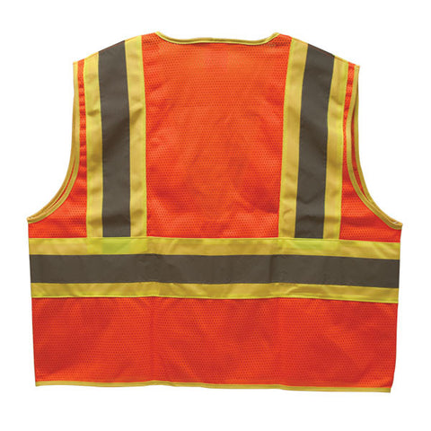 TruForce Class 2 Two-Tone Mesh Safety Vest, Lime, Large