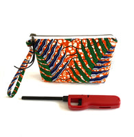 african print fabric purse to scale