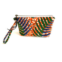 orange green navy fabric purse