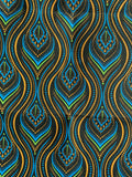 black blue paisley fabric