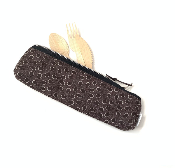 brown travel cutlery case