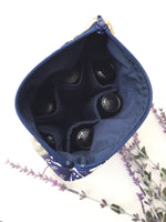 essential oil case inner with bottles navy