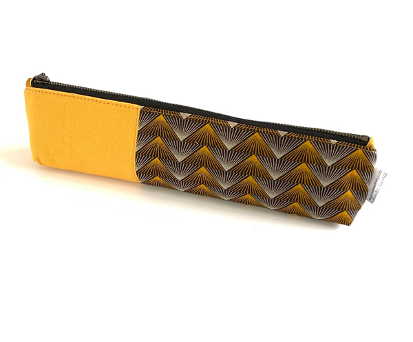 yellow knitting needle case