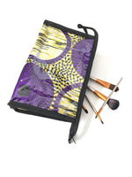 purple ankara makeup bag