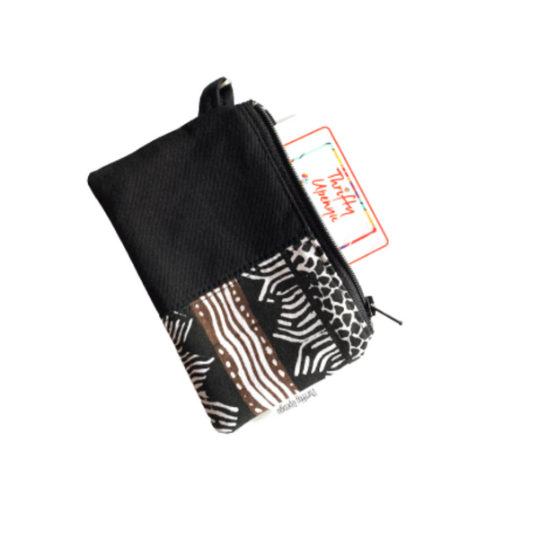 black small zipper coin pouch