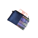 light blue african tribal small zipper coin purse