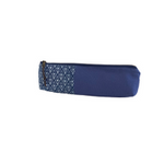 blue shweshwe long zipper pouch