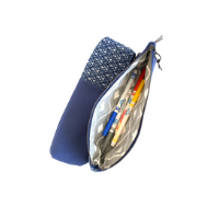 inside blue shweshwe long zipper pouch