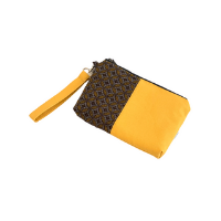 brown gold shweshwe zipper pouch