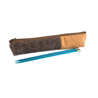 brown shweshwe fabric zippered pencil pouch