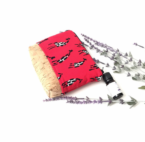 giraffe print essential oil bag