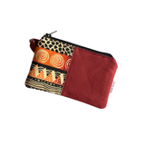 maroon african small zipper coin purse