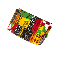 medium african  patchwork zipper purse