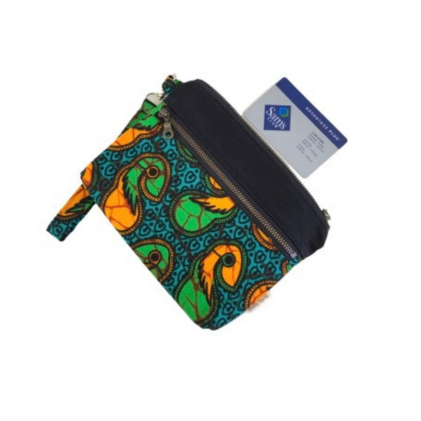 green and black african clutch