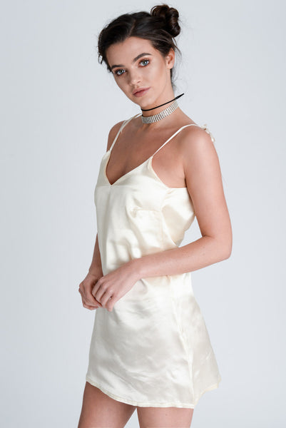 Harlow Champagne Satin Dress