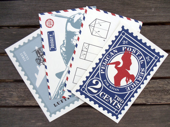 Air Mail Postcards (Set of 4)