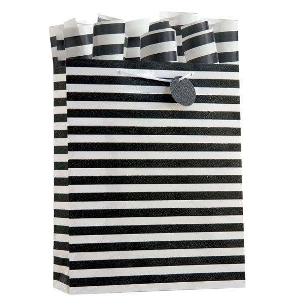 Kenzie Stripe Black Large Gift Bag