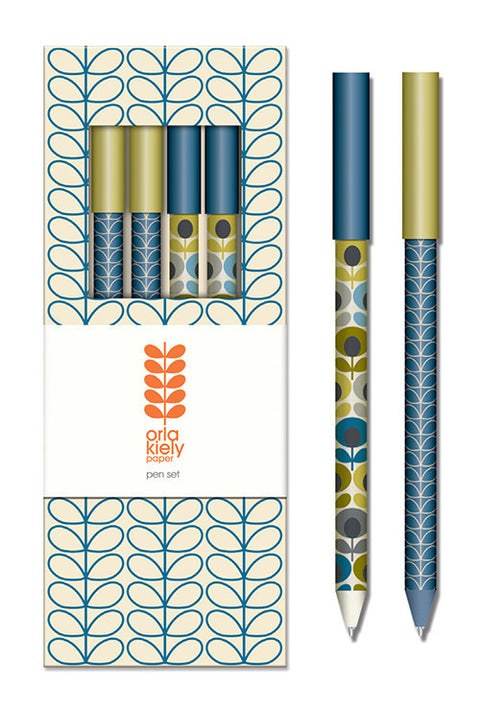 Orla Kiely Linear Stem Marine Pen Set