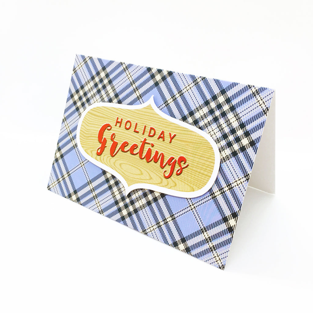 """Holiday Greetings"" Blue Scotch Plaid Greeting Card"
