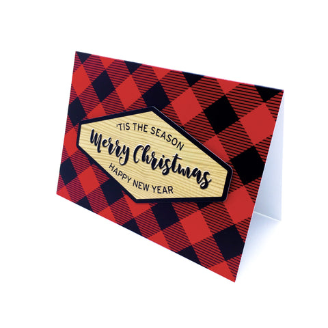 """Merry Christmas"" Buffalo Plaid Greeting Card"