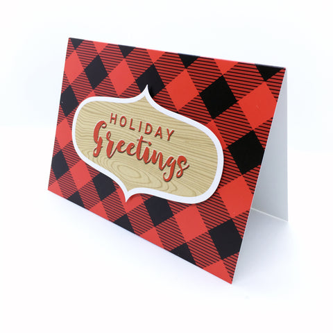 """Holiday Greetings"" Buffalo Plaid Greeting Card"