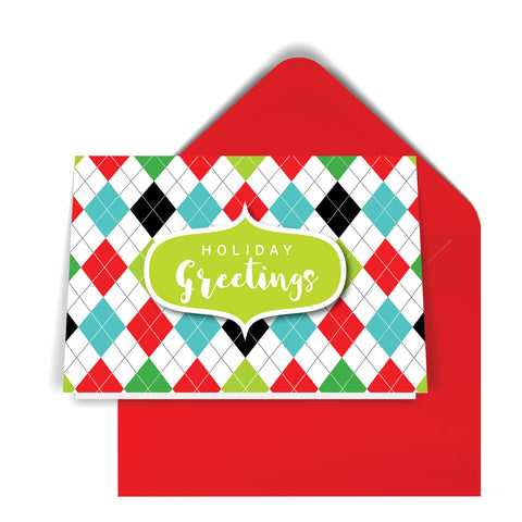 GeoChristmas Argyle Holiday Card (8 Message Options)