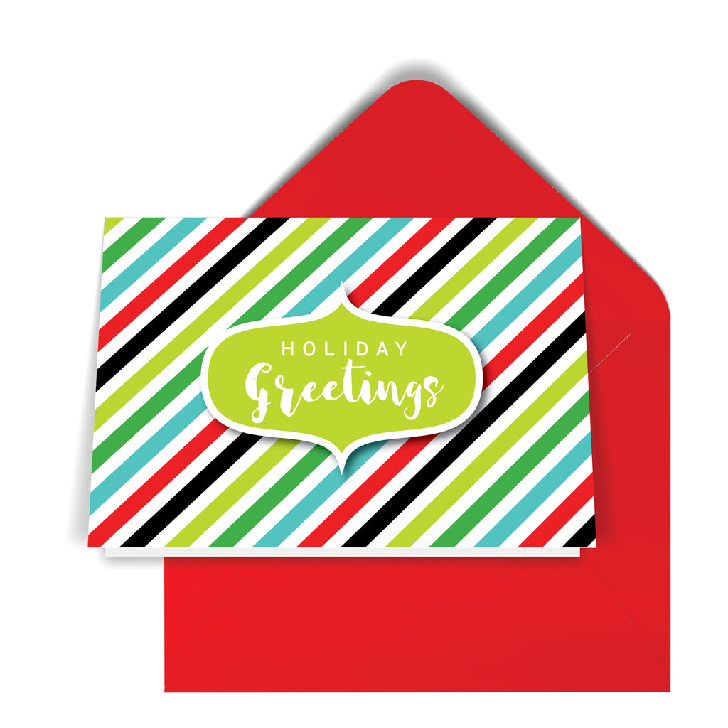 GeoChristmas Diagonal Stripes Holiday Card (8 Message Options)