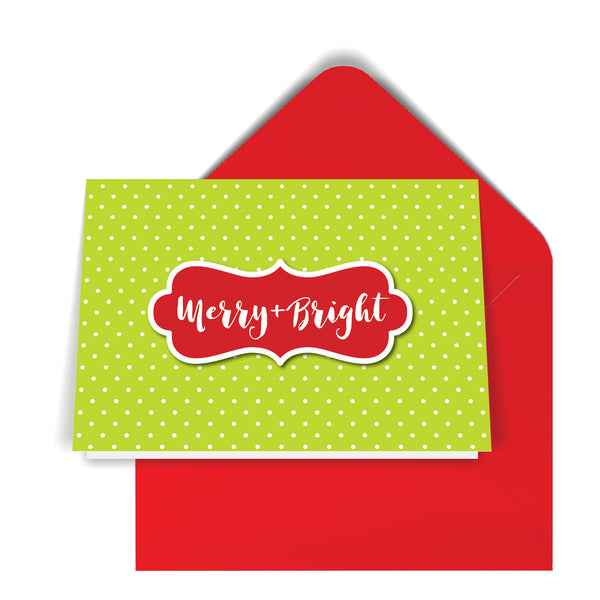 GeoChristmas Green Mini Dots Holiday Card (8 Message Options)