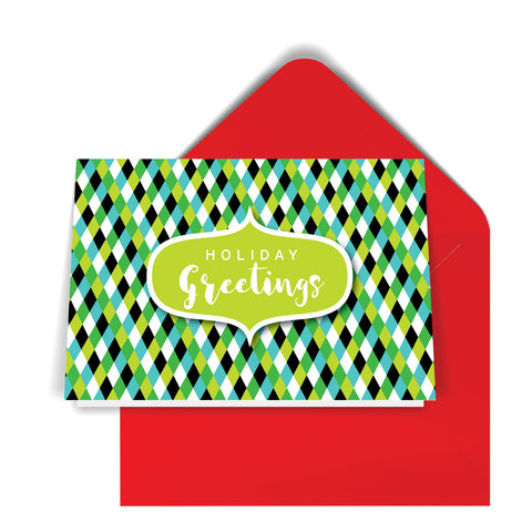 GeoChristmas Harlequin Holiday Card (8 Message Options)