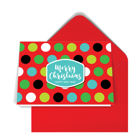 GeoChristmas Red Dots Holiday Card (8 Message Options)