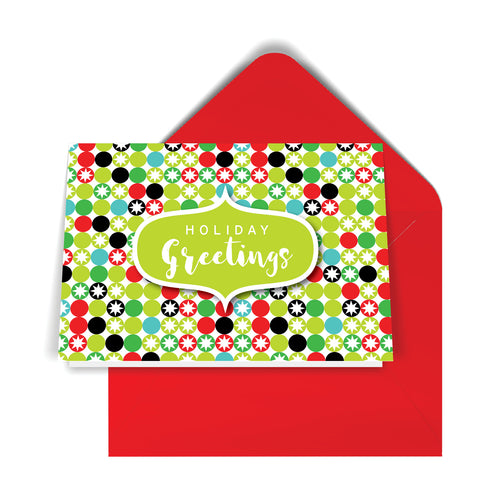 GeoChristmas Snowflakes Holiday Card (8 Message Options)
