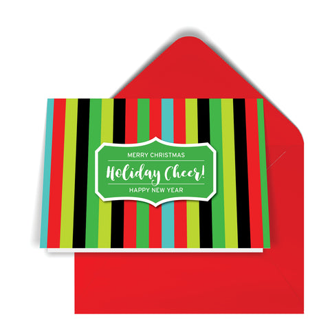 GeoChristmas Striped Holiday Card (8 Message Options)