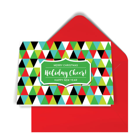 GeoChristmas Triangles Holiday Card (8 Message Options)