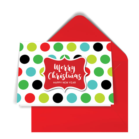 GeoChristmas White Dots Holiday Card (8 Message Options)