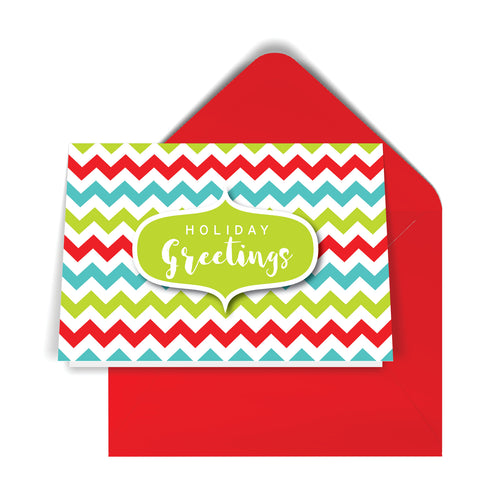 GeoChristmas ZigZag Holiday Card (8 Message Options)