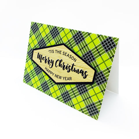 """Merry Christmas"" Green Tartan Greeting Card"