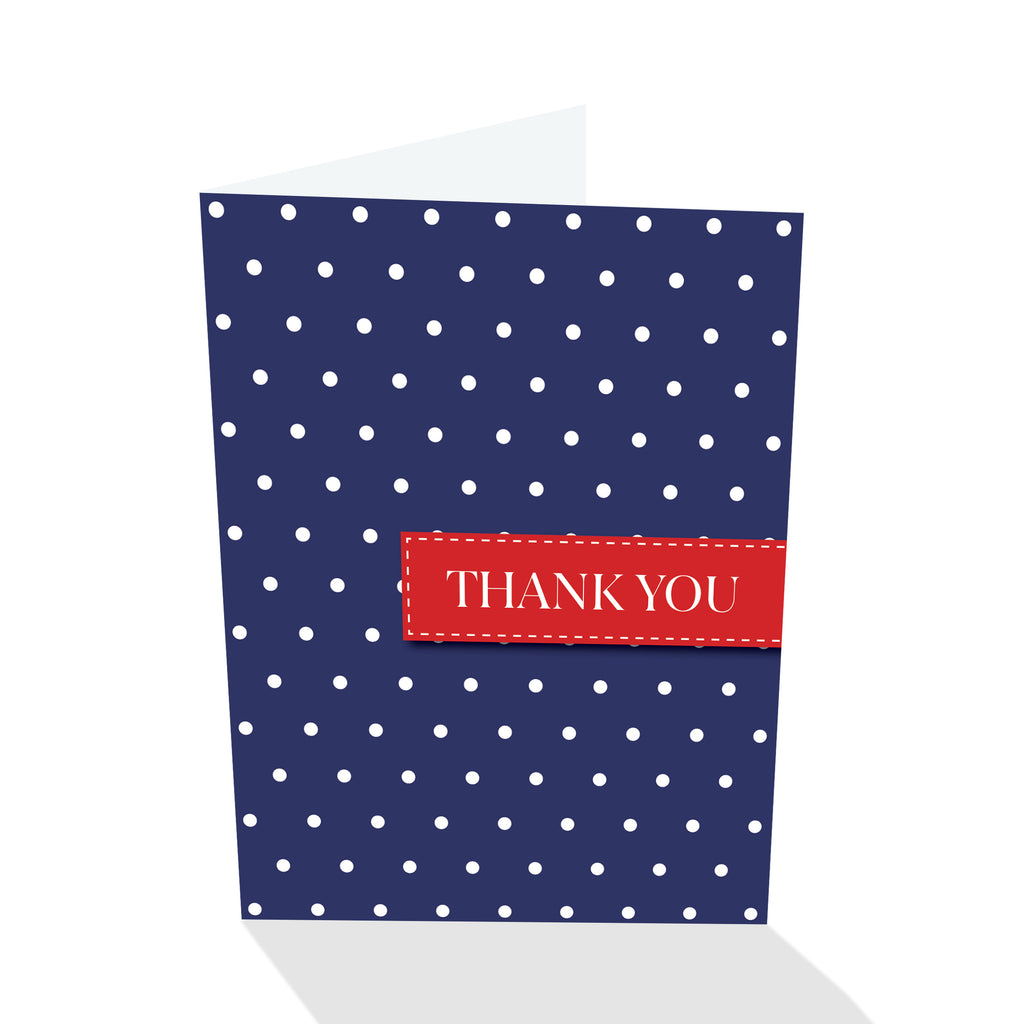 Blue/White/Red Dotted Thank You