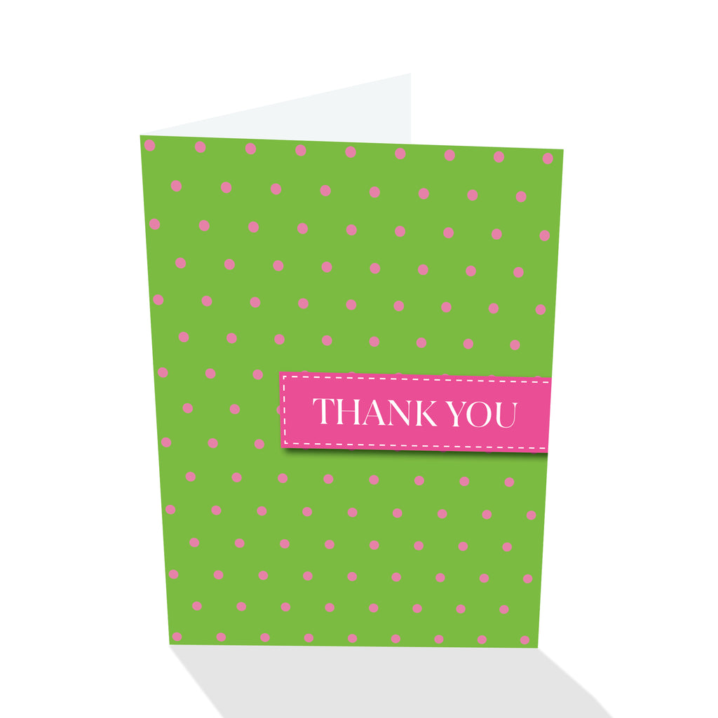 Green/Pink Dotted Thank You