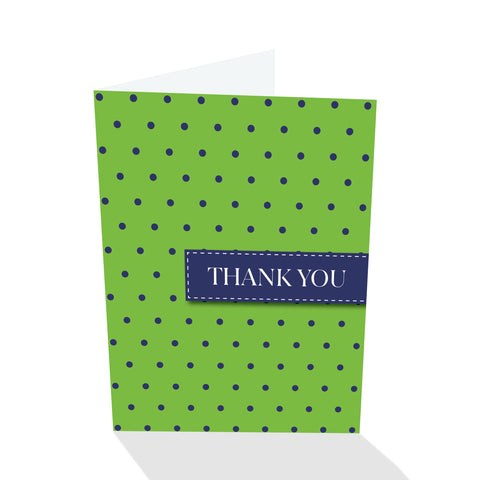 Green/Navy Dotted Thank You