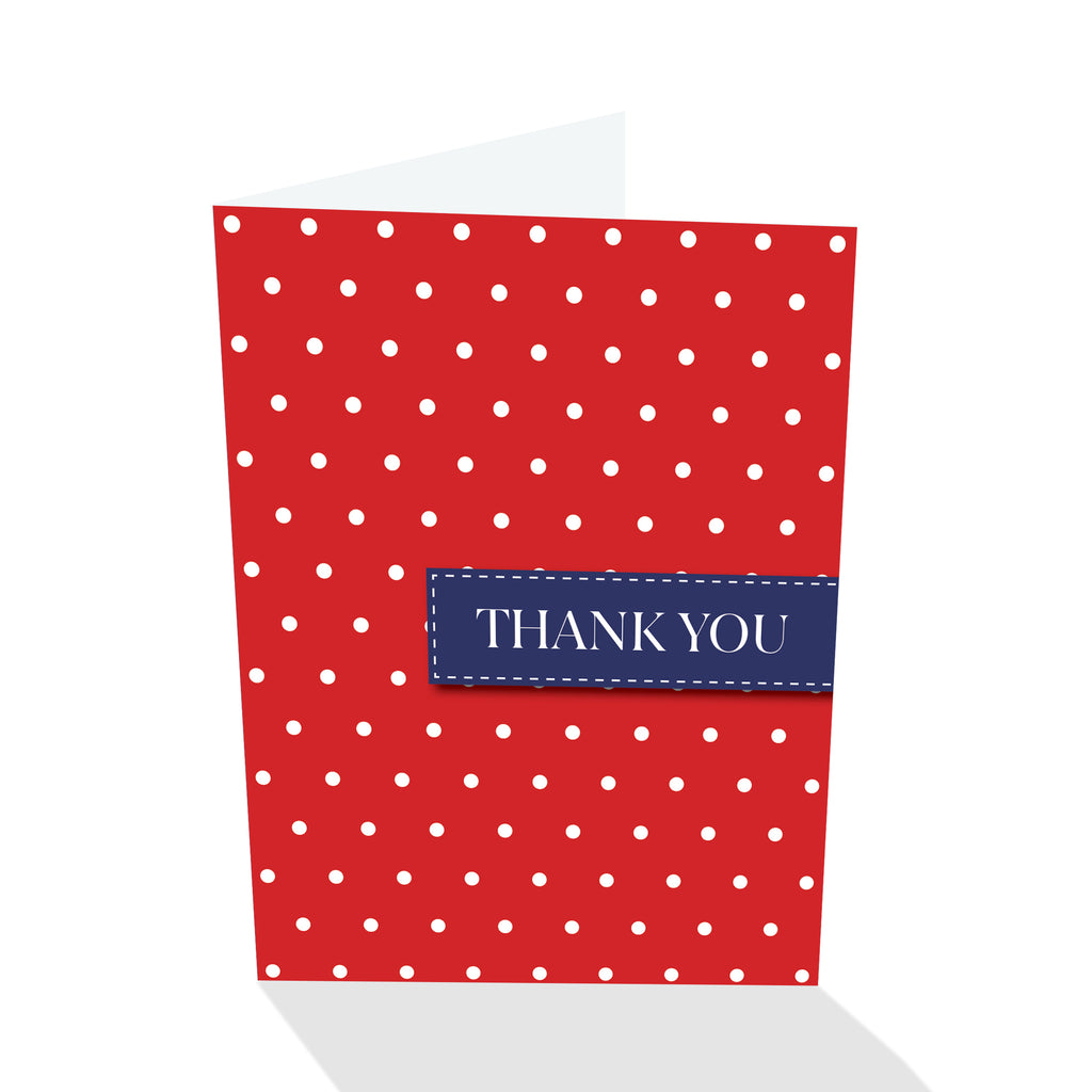 Red/White Dotted Thank You