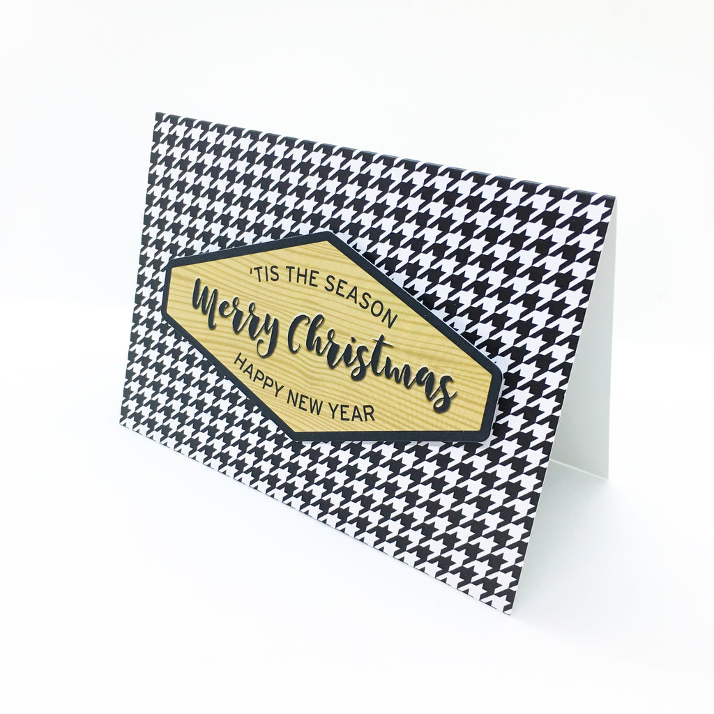 """Merry Christmas"" Houndstooth Greeting Card"