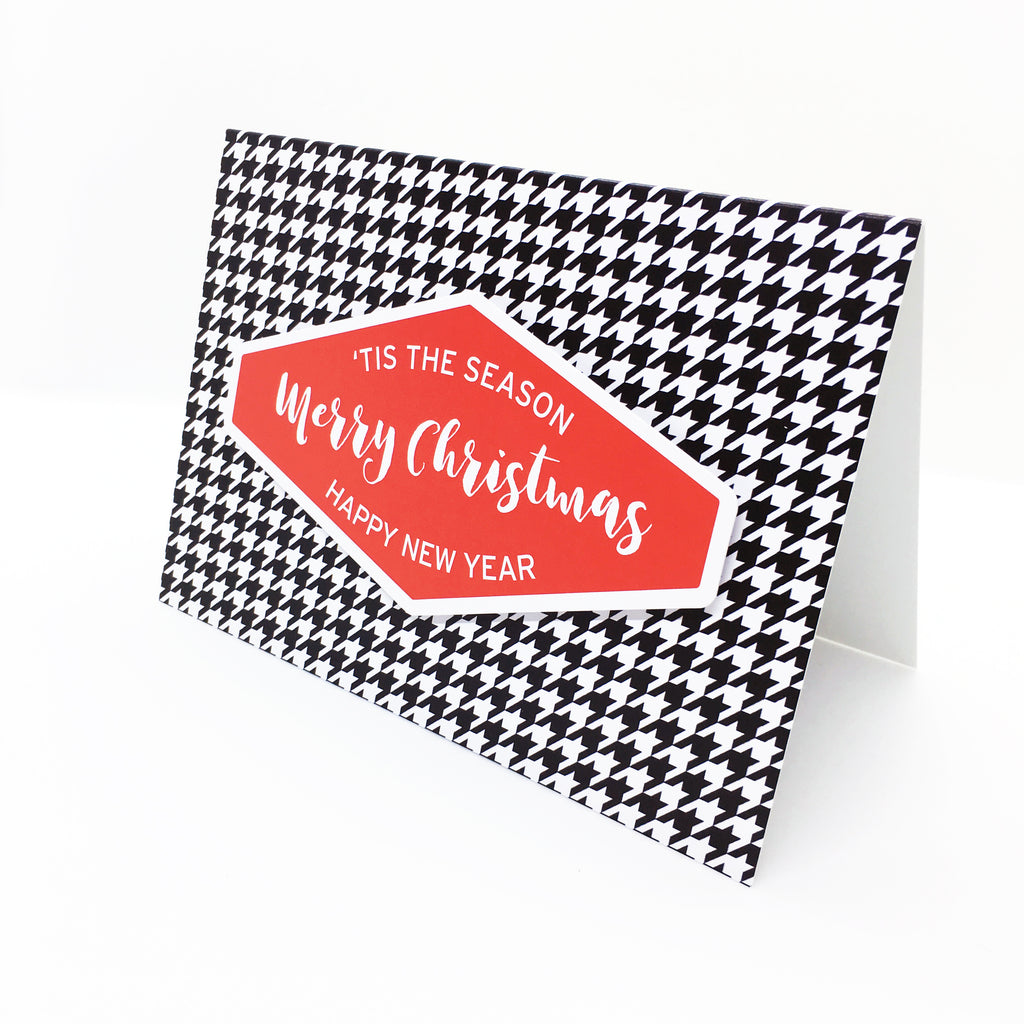 """Merry Christmas"" (Red) Houndstooth Greeting Card"