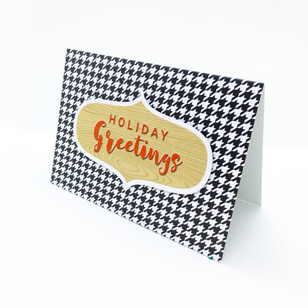 """Holiday Greetings"" Houndstooth Greeting Card"