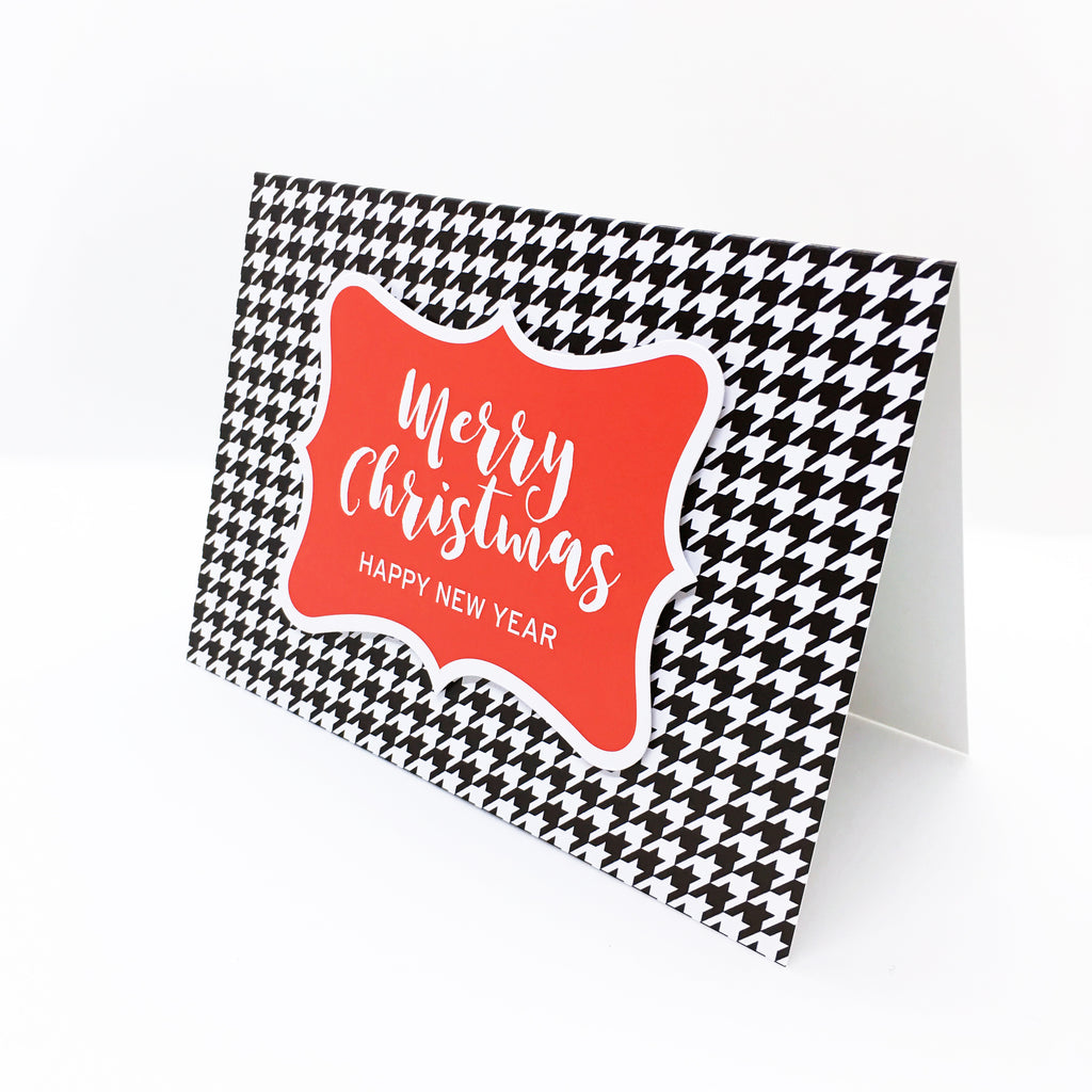 """Merry Christmas, Happy New Year"" (Red) Houndstooth Greeting Card"