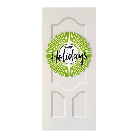 Sapori Holiday Door with Green Burst Wreath Greeting Card