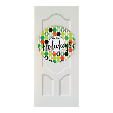 Sapori Holiday Door with Snowflakes Wreath Greeting Card