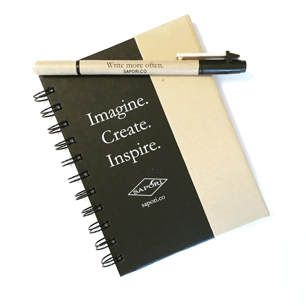 """Imagine. Create. Inspire."" Small Notebook with Sticky Notes and Flags"
