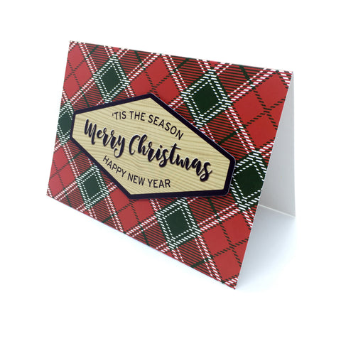 """Merry Christmas"" Imperial Red Tartan Greeting Card"
